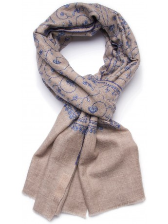 JUDY BEIGE, real pashmina 100% cashmere with handmade embroideries
