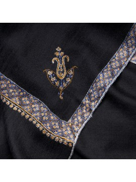 ASHA BLACK, real pashmina 100% cashmere with handmade embroideries