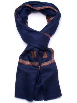 ASHA NAVY, real pashmina 100% cashmere with handmade embroideries