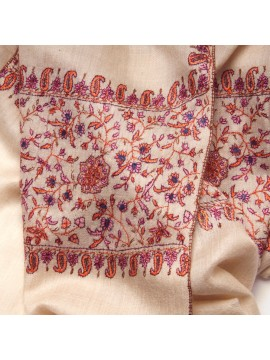 PALLA CREAM, real pashmina 100% cashmere with handmade embroideries