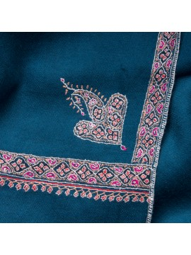 ASHA TEAL BLUE, real pashmina 100% cashmere with handmade embroideries