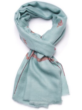BETTY AQUA, étole véritable Pashmina 100% cachemire brodé main
