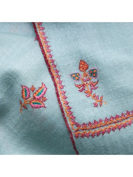 BETTY AQUA, real pashmina 100% cashmere with handmade embroideries