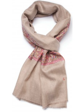 INES BEIGE, real pashmina 100% cashmere with handmade embroideries