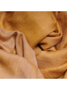 Genuine pashmina 100% cashmere reversible yellow / natural beige