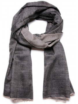 SWAN BLACK, Handwoven cashmere pashmina Shawl reversible