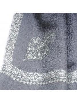 ASHA GRIS, étole véritable pashmina 100% cachemire brodé main