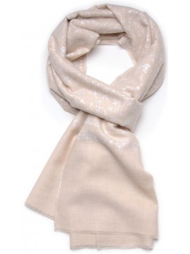 ALIA CREAMY, real pashmina 100% cashmere with full handmade embroideries
