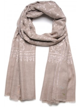 JANET NATURAL BROWN, Real embroidered pashmina shawl 100% cashmere light grey with full needle work