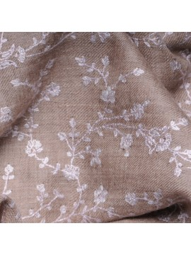 ALBA BEIGE, Real embroidered pashmina shawl 100% cashmere