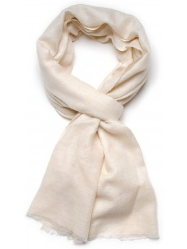 Genuine natural ivory handwoven cashmere pashmina stole