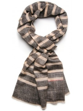 ARMOR GREY, real pashmina 100% cashmere with breton stripes