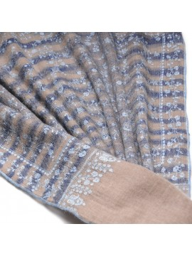 ISIS IKAT BLUE, real pashmina 100% cashmere with handmade embroideries
