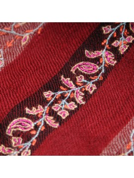 EUGENIE RED, real pashmina 100% cashmere natural with full handmade embroideries