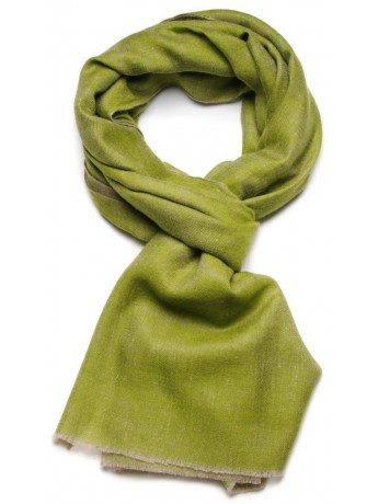 Genuine pashmina 100% cashmere reversible green / natural beige