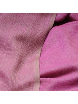 Genuine pashmina 100% cashmere reversible Pink / natural beige Big size