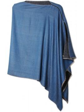 PABLO BLU, poncho reversibile in vera pashmina 100% cashmere