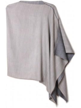 PABLO GRIGIO, poncho reversibile in vera pashmina 100% cashmere