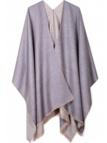Handwoven cashmere pashmina Cape PAOLA GREY