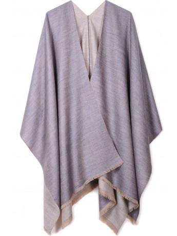 PAOLA GRIS, cape réversible véritable pashmina 100% cachemire