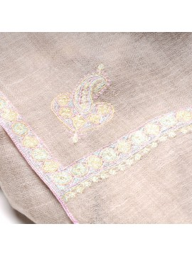 ASHA LIGHT BEIGE, real pashmina 100% cashmere with handmade embroideries