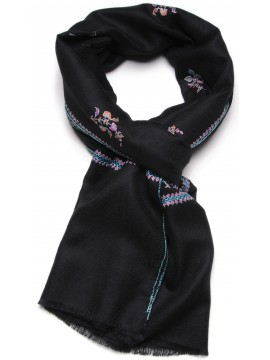 BETTY BLACK, real pashmina 100% cashmere with handmade embroideries