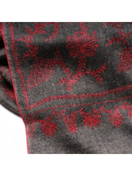 JULIET BLACK, real pashmina 100% cashmere natural with full handmade embroideries