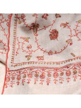 JULIA CREAM, real pashmina 100% cashmere natural with full handmade embroideries