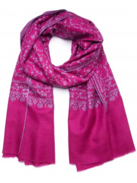JANE PINK, real embroidered pashmina shawl 100% cashmere