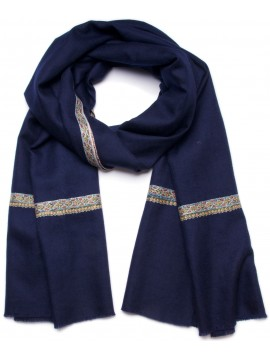 ASHLEY NAVY, Real embroidered pashmina shawl 100% cashmere