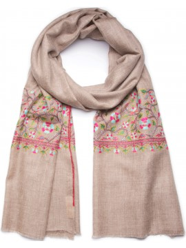 FLORA BEIGE, Real embroidered pashmina shawl 100% cashmere