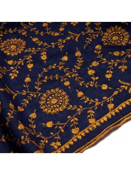 JANET NAVY, real pashmina shawl 100% cashmere with handmade embroideries