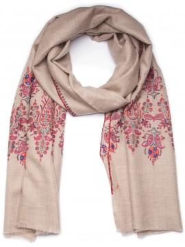 MAE BEIGE, Real embroidered pashmina shawl 100% cashmere