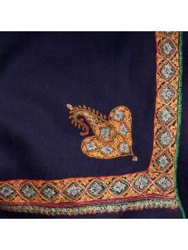 ASHA MARINE, étole véritable pashmina 100% cachemire brodé main