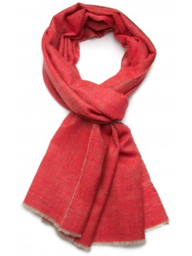 SACHA RED, Handwoven cashmere pashmina Stole REVERSIBLE