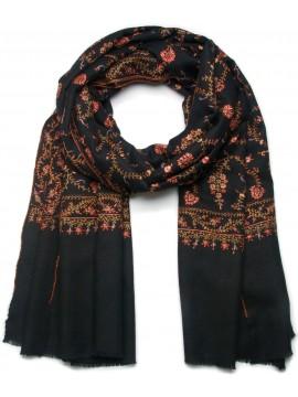 ELIZA BLACK, real embroidered pashmina shawl 100% cashmere